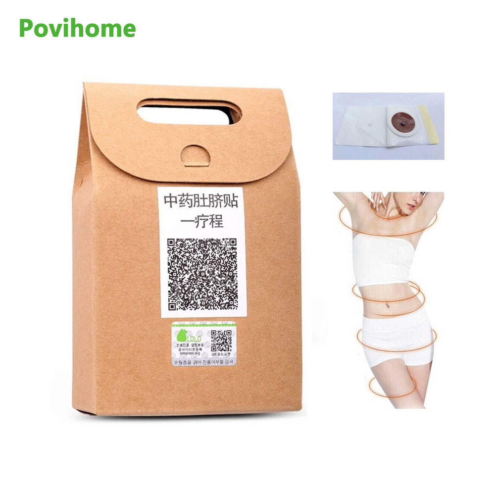 Povihome 40Pcs/Bag Slimming Patch Chinese Traditional Medicine Navel Stick Slim Patch Lose Weight Burning Fat Plaster C678