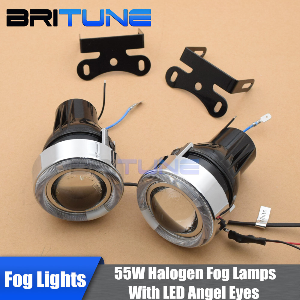 Fog Lights Lens H3 Halogen Projector Angel Eyes Lenses Single Beam Fog Lamp Light Universal 2.5'' 55W Driving Lamps Retrofit DIY