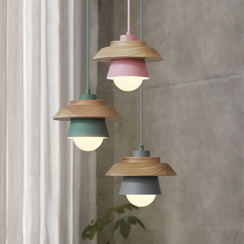 The Nordic Modern Minimalist Bedroom Small Chandelier Iron Wood Bowl Hall Creative Personality Macarons Restaurant LED Lamp