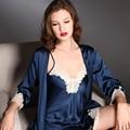 New arrival heavy silk laciness twinset sleepwear nightgown robe set female