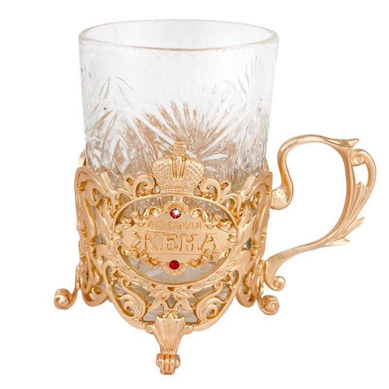 Or perdurable tasses tasse boisson titulaire coaster en métal résistant à la chaleur tasse de thé et soucoupe tasse creative cadeau pour femme