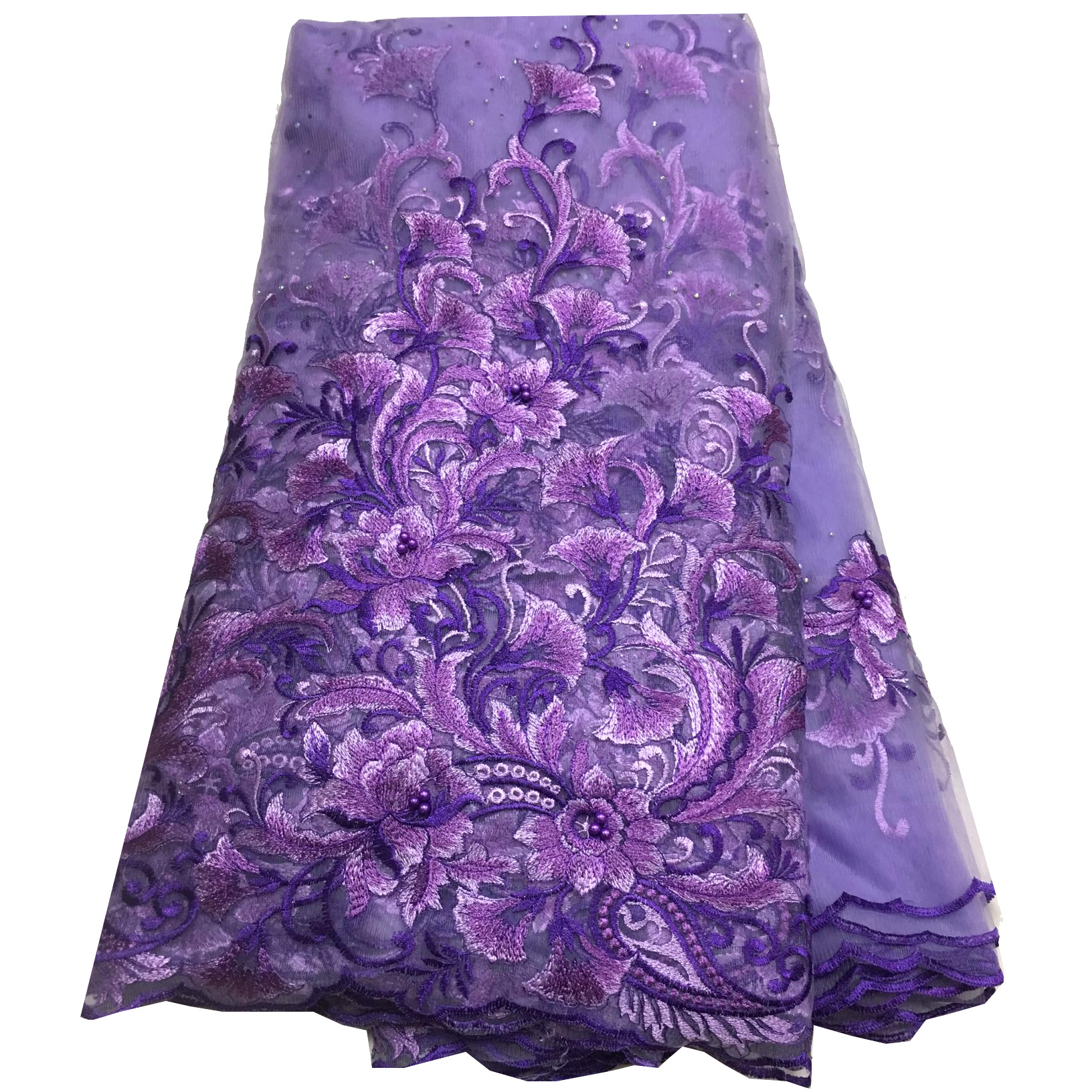 2019 Latest Purple French Nigerian Lace Fabrics High Quality African Lace Fabric Wedding Embroidered Tulle Organza