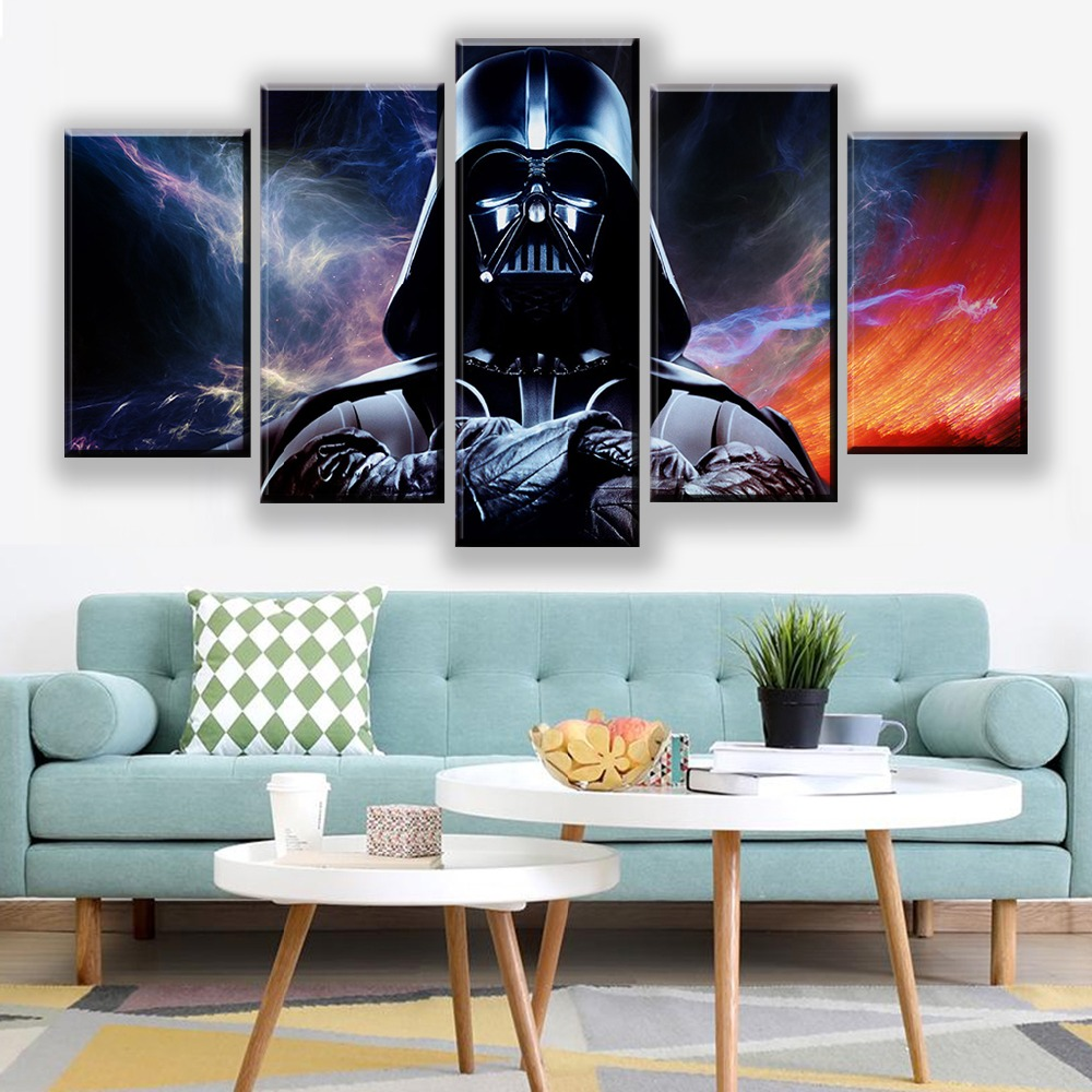 Canvas Prints Posters Home Wall Art Framework 5 Pieces Star Wars Movie Paintings Darth Vader Pictures For Living Room Decoration image