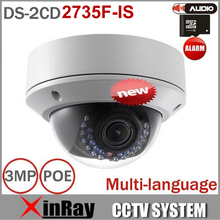 Lente Varifocal Cámara Domo IP DS-2CD2735F-IS Reemplazar DS-2CD2732F-IS 3MP 1080 P CCTV IP PoE Soporte de La Cámara de Alarma y Audio I/s
