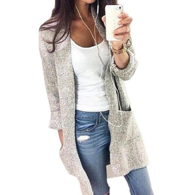 Мода Твердые Вязать Кардиганы 2016 Свитера Женщины Свитер Дамы Длинный Вязаный Свитера Куртки И Пиджаки Пальто Серого Цвета SW080