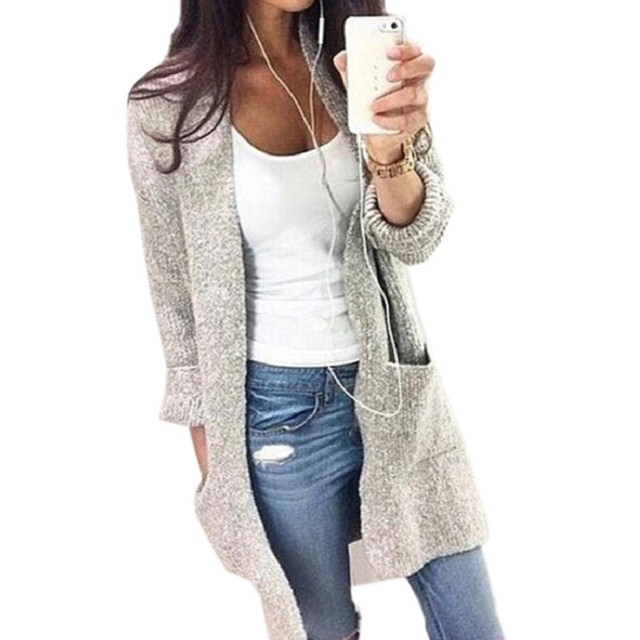 Moda Sólidos 2016 Blusas de Malha Cardigans Mulheres Camisola Das Senhoras Blusas De Malha Longo Outwear Casaco Cor Cinza SW080