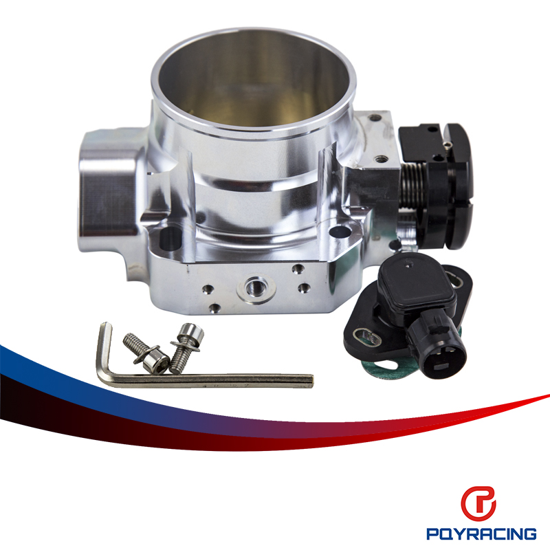 PQY RACING- SILVER 70MM THROTTLE BODY +TPS THROTTLE BODY POSITION SENSOR For 90- 01 ACURA INTEGRA DA DB DC2 B16 B18C  цены