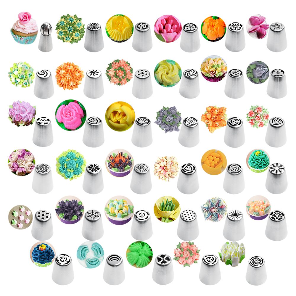 35pc/Set <font><b>Cake</b></font> Icing Nozzles Russian Piping Tips <font><b>Flower</b></font> Cream Pastry Tips Stainless Steel Nozzles Kitchen Accessories image