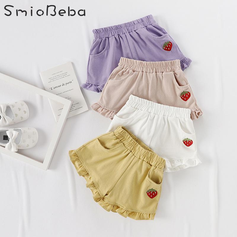 Girls   Short   Pants Outside   Shorts   Baby Summer New Kids Leggings W/ Strawberry Embroidered Casual Pants With Ear Edge Girls Pants