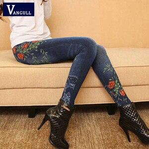 Image 1 - Vangull Frauen Leggings Faux Denim Jeans Leggings Sexy Lange Tasche Druck Frühling Winter Leggings Casual Bleistift Hosen Plus größe