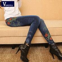 Vangull legginsy damskie sztuczny Jeans Jeans legginsy seksowna długa kieszeń sprężyna drukująca zimowe legginsy spodnie ołówkowe na co dzień Plus rozmiar