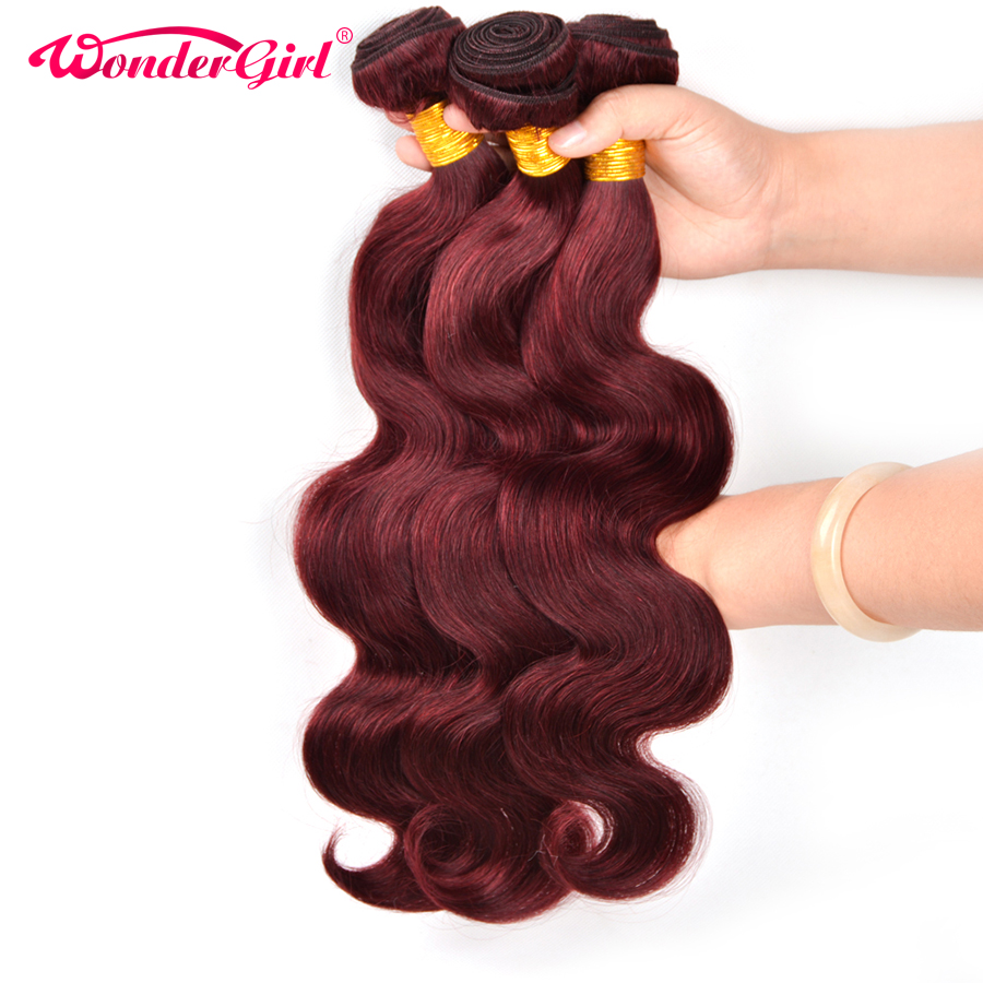 3 Bundle Deals Brazilian Body Wave Color #99J Human Hair Extensions Non-remy Hair Weave Bundles Wonder girl
