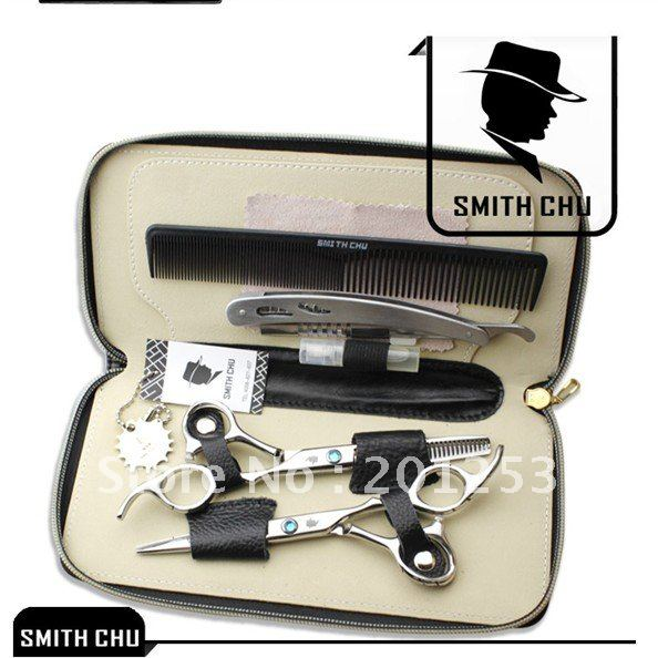 Smith Chu 6 Inch Human Hair Scissors Set Japan 440C Hairdressing Cutting Scissors Thinning Shear Hair Care&Styling Tool LZS0006 smith chu professional barber scissors hairdressing scissors hair cutting tool combination package hm101