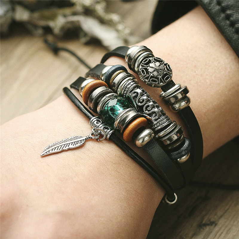 IF ME Design Turkish Eye Leather Bracelet For Men Woman Multiple Layer Feather Bracelet Fashion Wristband Party Jewelry Gift 1