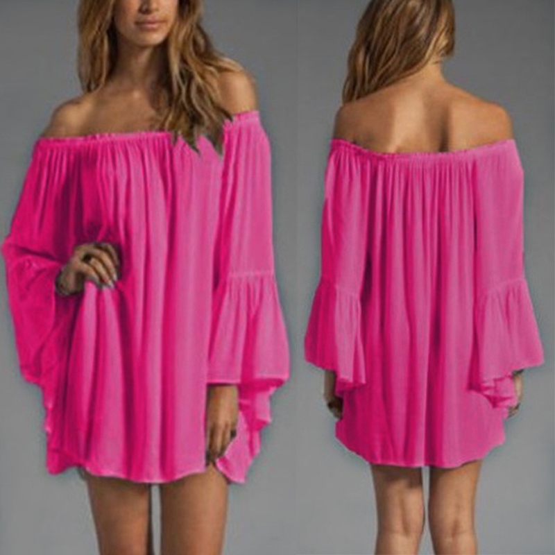 Naiveroo High Quality Women s Sexy Casual Off Shoulder Chiffon Boho Ruffle  Sleeve Blouse Mini Dress Slash Neck Loose Solid Color-in Dresses from  Women s ... 164b336d166c