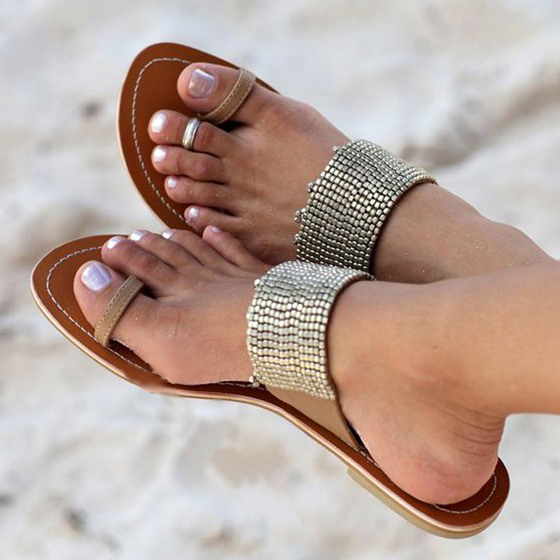 ФОТО 2017 concise toe ring type sandals sequin decoration more lively slip-on closure type CONVENIENT patchwork pattern coffee color