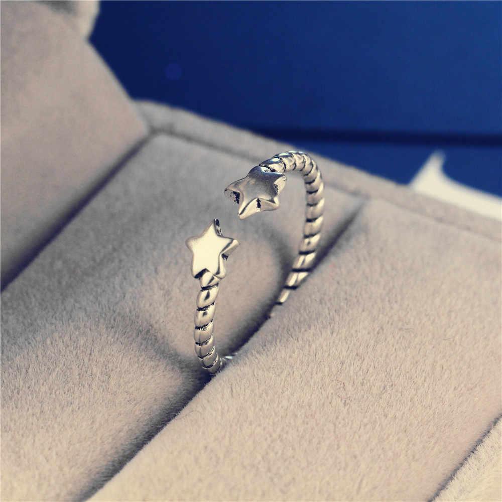 Классические винтажные 925 Серебряные Роскошные уникальные двойные звезды кольца витые кольца модный дизайн для женщин подарок
