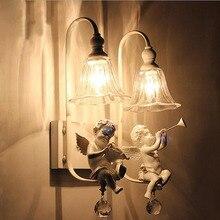 Белый Цветок Ангел Ребенок Смолы Настенный Светильник Настенный Светильник для Дома Спальня Крытый Освещение Прихожей Настенные Светильники Светодиодные