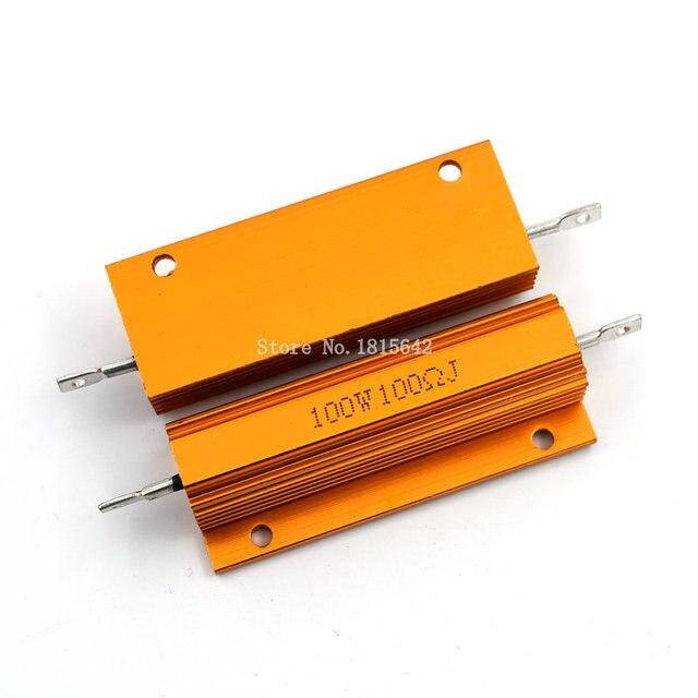 RX24 100 Вт 100R 100rj металла В виде ракушки из алюминия золото резистор высокое Мощность сопротивление Золотой теплоотвод резистор 100 Вт 100 ом
