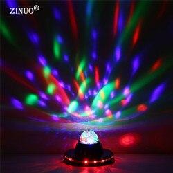 ZINUO AC85-265Vโคมไฟเวทีมินิอัตโนมัติหมุนคริสตัลดิสโก้ลูกมายากลที่มีสีสัน