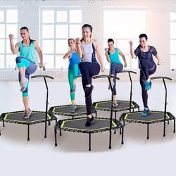 48-дюймовый шестиугольный батут для фитнеса с регулируемым поручнем для крытого спортзала, прыжков, спорта, безопасности для взрослых и дете...