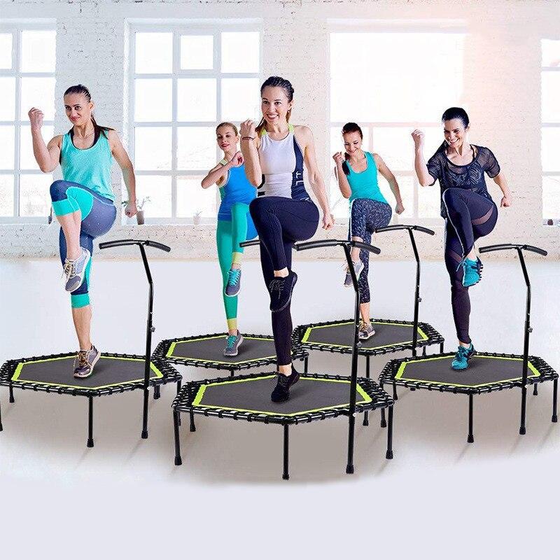 48 Cal sześciokątna wyciszona trampolina fitness z regulowaną poręczą dla siłownia Jump Sports dorośli bezpieczeństwo dzieci