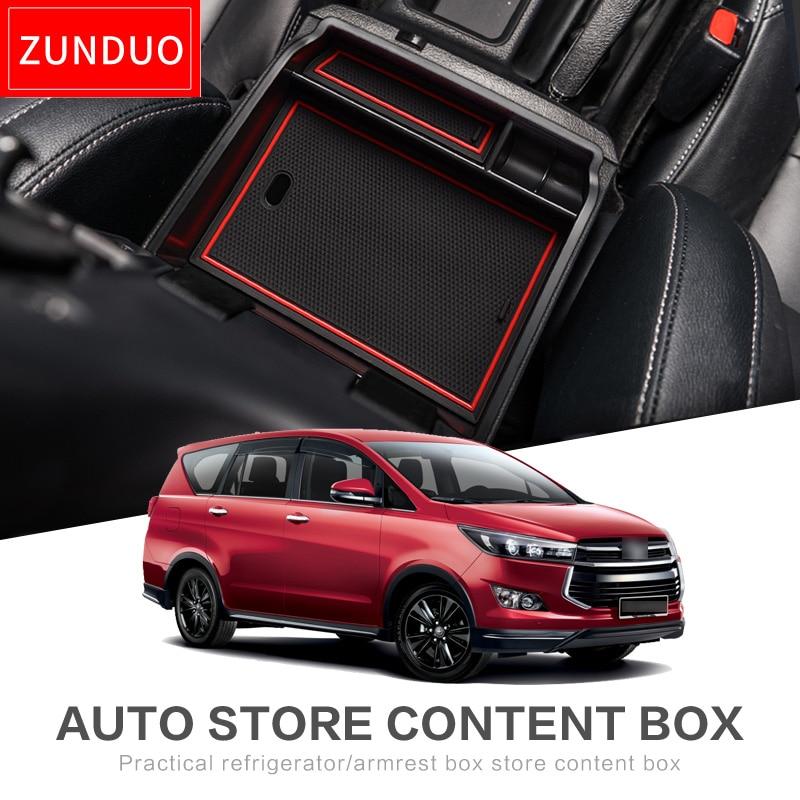 Armrest Box Storage Car Organizer Accessories For Toyota Innova AN140 2015 ~ 2019 140 2016 ~ 2018 Kijang Innova Crysta Stowing