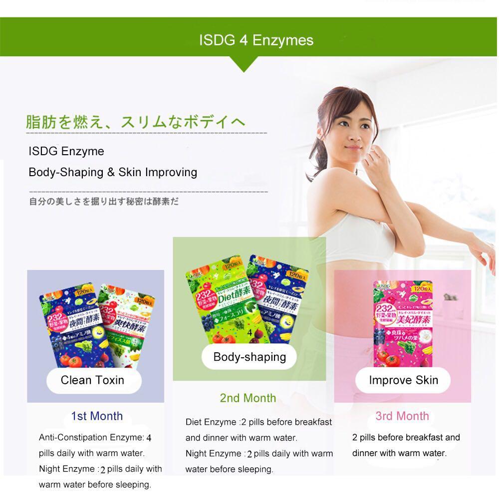 ISDG ночь+ анти-запор+ диета+ красота фермент потеря веса продукты для похудения Сжигание жира дополнительные 4 упаковки