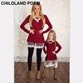 2016 семьи сопоставления одежда рождество мать дочь платья кружева соответствия мать дочь одежда мама и дочь платье