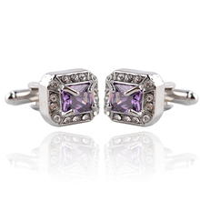 New Fashion Mens Silver With Purple Crystal Cufflinks French Zircon Nail Shirt Wedding Gifts For Men