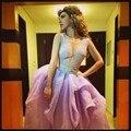 Знаменитости Платье Myriam Fares Арабский Длинные V Шеи Backless кружева Аппликация Sexy Red Carpet Платье Vestido Лонго Феста Пром платье