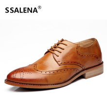 Men Luxury Italian Brogue Dress Shoes Male Formal Business Oxfords Shoes Men British Leather Flats Carve Shoes AA51546