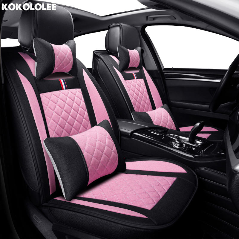 KOKOLOLEE flax Universal car seat cover for Honda CRV breathable comfortable seat cushion car ACCESSORIES seat covers cartoon new car seat cover cushion top grade pvc accessories lovely car styling seat cushion covers seat mats for bmw audi honda