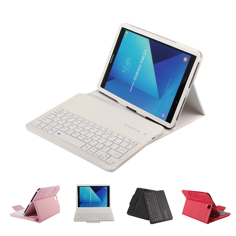 Luxury Case for Samsung Galaxy Tab S3 9.7 Wireless Bluetooth Keyboard Case for Samsung T820 T825 Tablet Flip Leather Stand Cover 360 rotary flip open pu case w stand for 10 5 samsung galaxy tab s t805 white