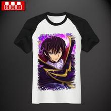 Verano de manga corta ropa para hombre y mujeres Anime Cosplay Code Geass Lelouch Lamperouge Cos fiesta de Halloween de la camiseta