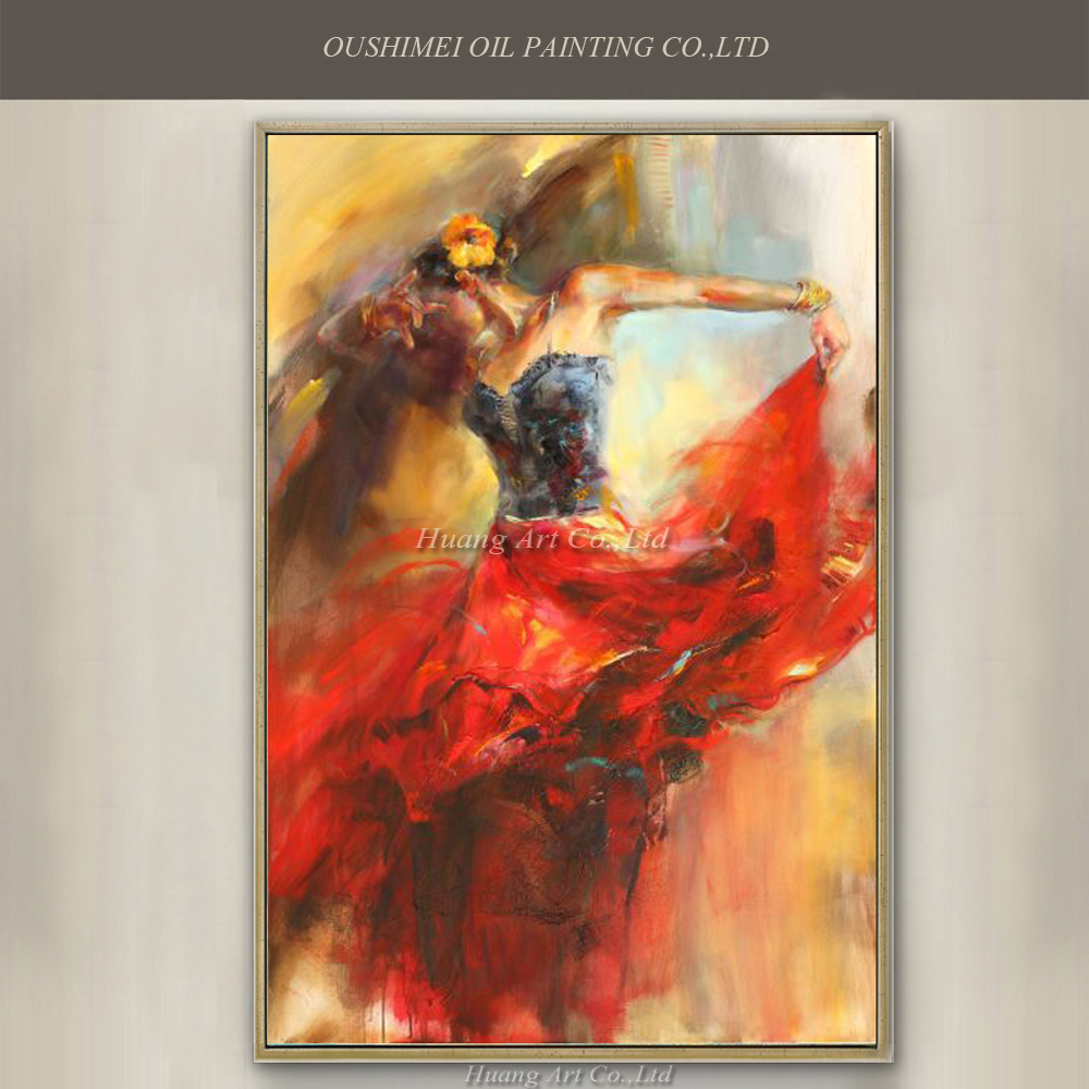 Professional Artist Directly Supply High Quality Hand painted Spanish Dancer Oil Painting On Canvas Flamenco Dancer