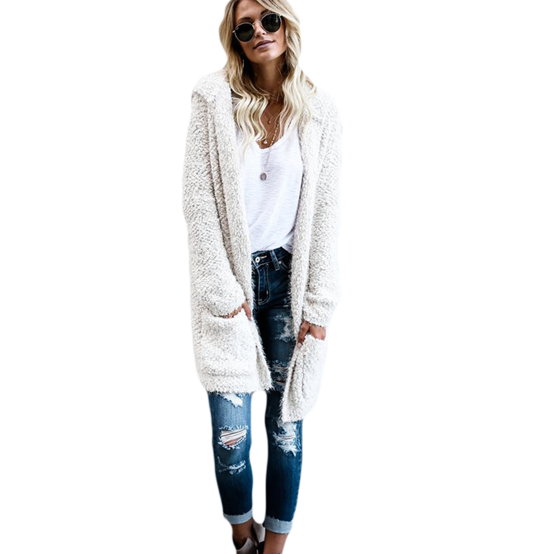 YJSFG HOUSE Hot New Women Long Cardigan Sweater Long Solid Sweater Sleeve Knitted Outwea ...