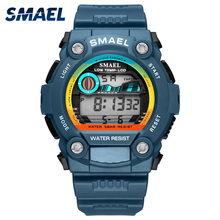 SMAEL automatic sport men #8217 s watch top Brand Luxury 50m waterproof digital wristwatches for male 1423Led men Casual digital Watch cheap Plastic 21cm 5Bar Buckle ROUND 30mm 18mm Acrylic Complete Calendar Shock Resistant Stop Watch LED display Auto Date Week Display