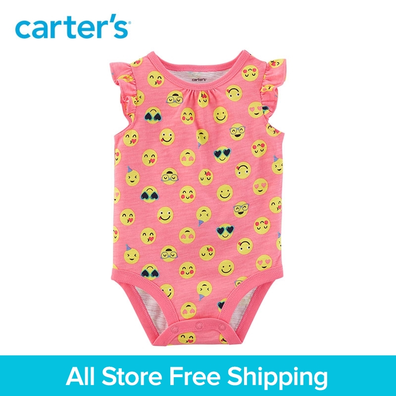 Carters 1-piece baby children kids clothing Girl Summer Smiley Face Flutter-Sleeve Bodysuit 118I280