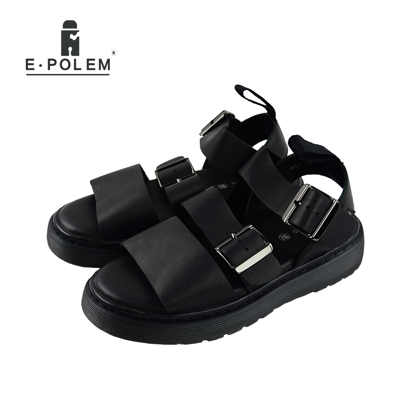 2017 Summer New Men Black Couples Height Increasing Rome Genuine Leather Sandals Unisex Fashion Breathable Beach Sandals
