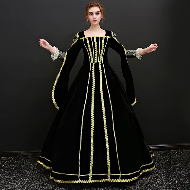 High Quality 2018 Black and Gold Mesh Square Collar Cinderella Long Dress Renaissance French court Ball Gowns costume For Women