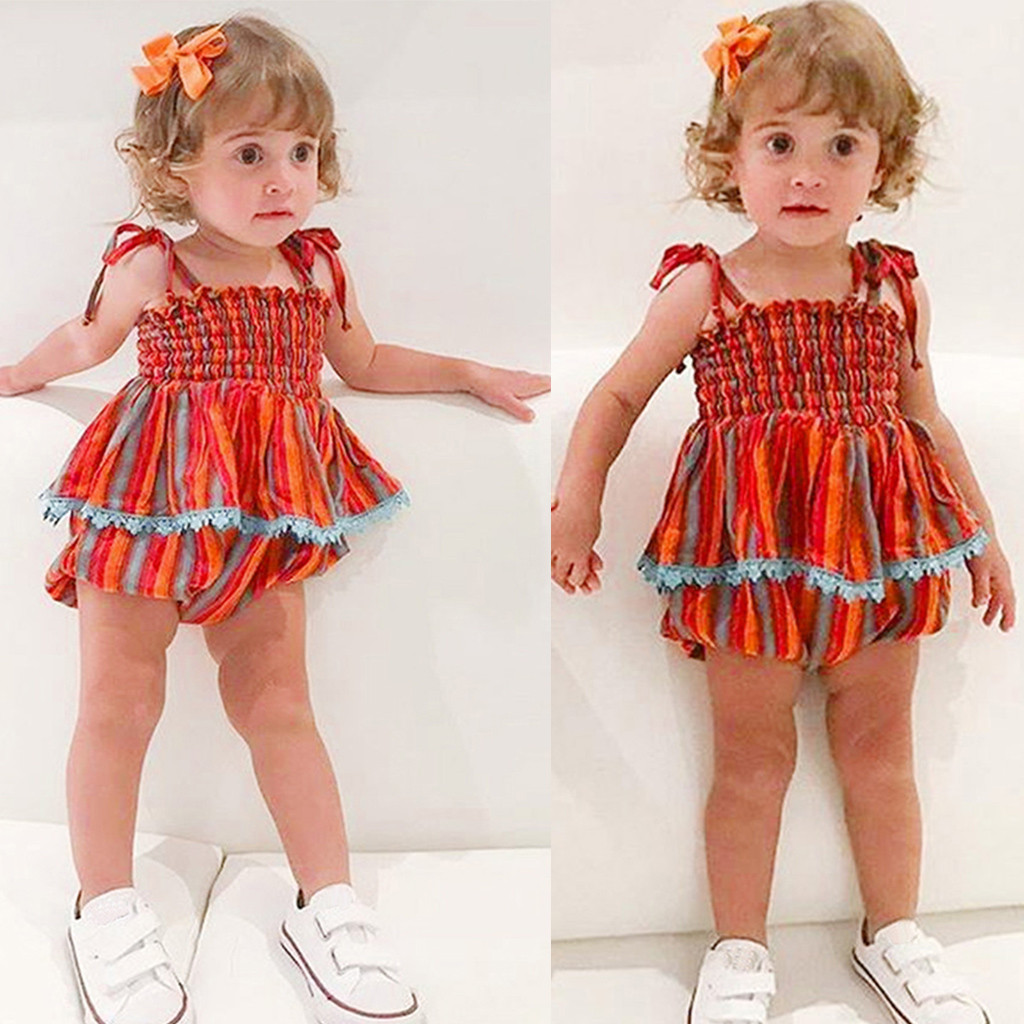 CHAMSGEND Infant Baby Girl Sleeveless Summer Rainbow Striped Cotton Blend Print Tops+Shorts Fashion Outfits Set FEB27 P30