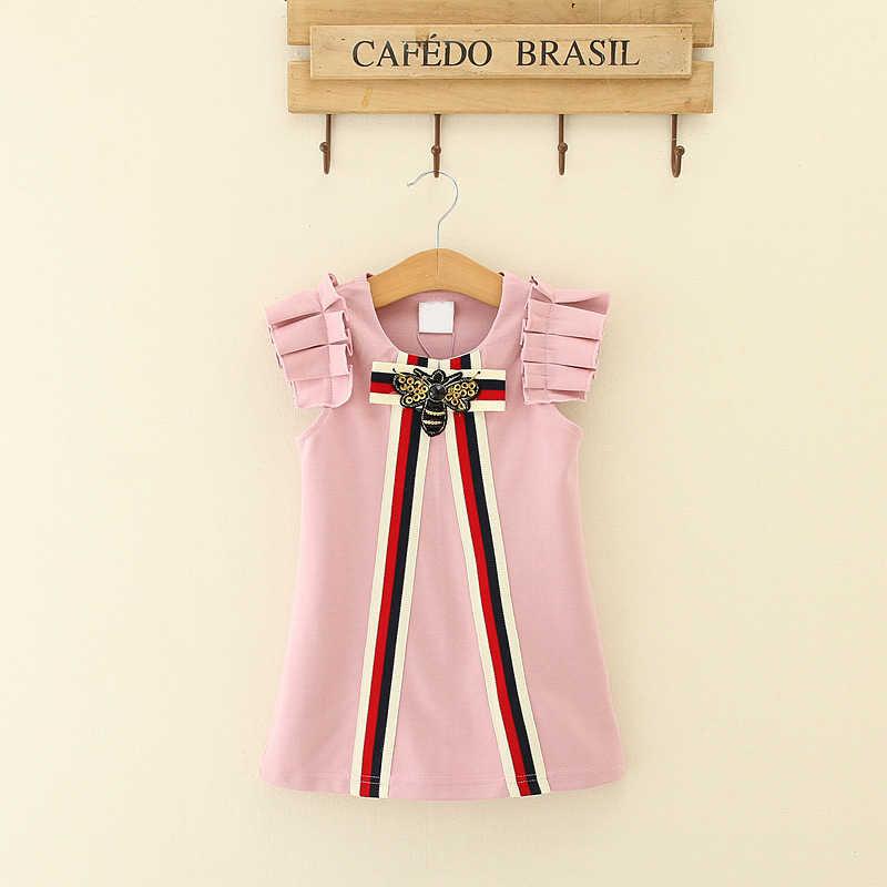 2019 מסיבת חתונת Vestidos תינוקות ילדי בגדים הקמעונאי תינוק בנות שמלות 3-8T נסיכת ילדה פסים קשת שמלה o-צוואר חולצות