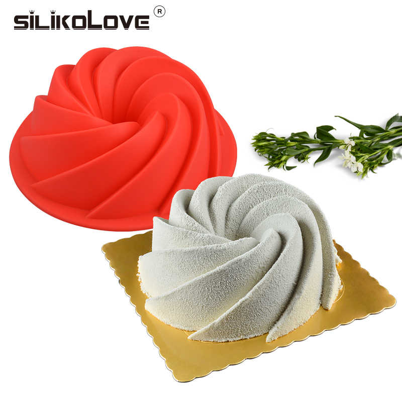 SILIKOLOVE Mini Spiral Shape Food Grade Silicone Cake Mold Pan 3d Fluted Cake Mould Form Bread Bakery Baking Tools Bakeware