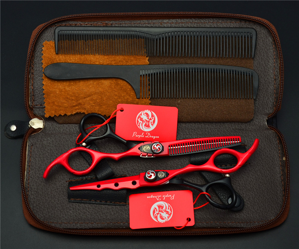 4Pcs Suit 6.0'' 440C Red Professional Human Hair Scissors Hairdressing Scissors Cutting Shears + Thinning Scissors + Combs Z1019