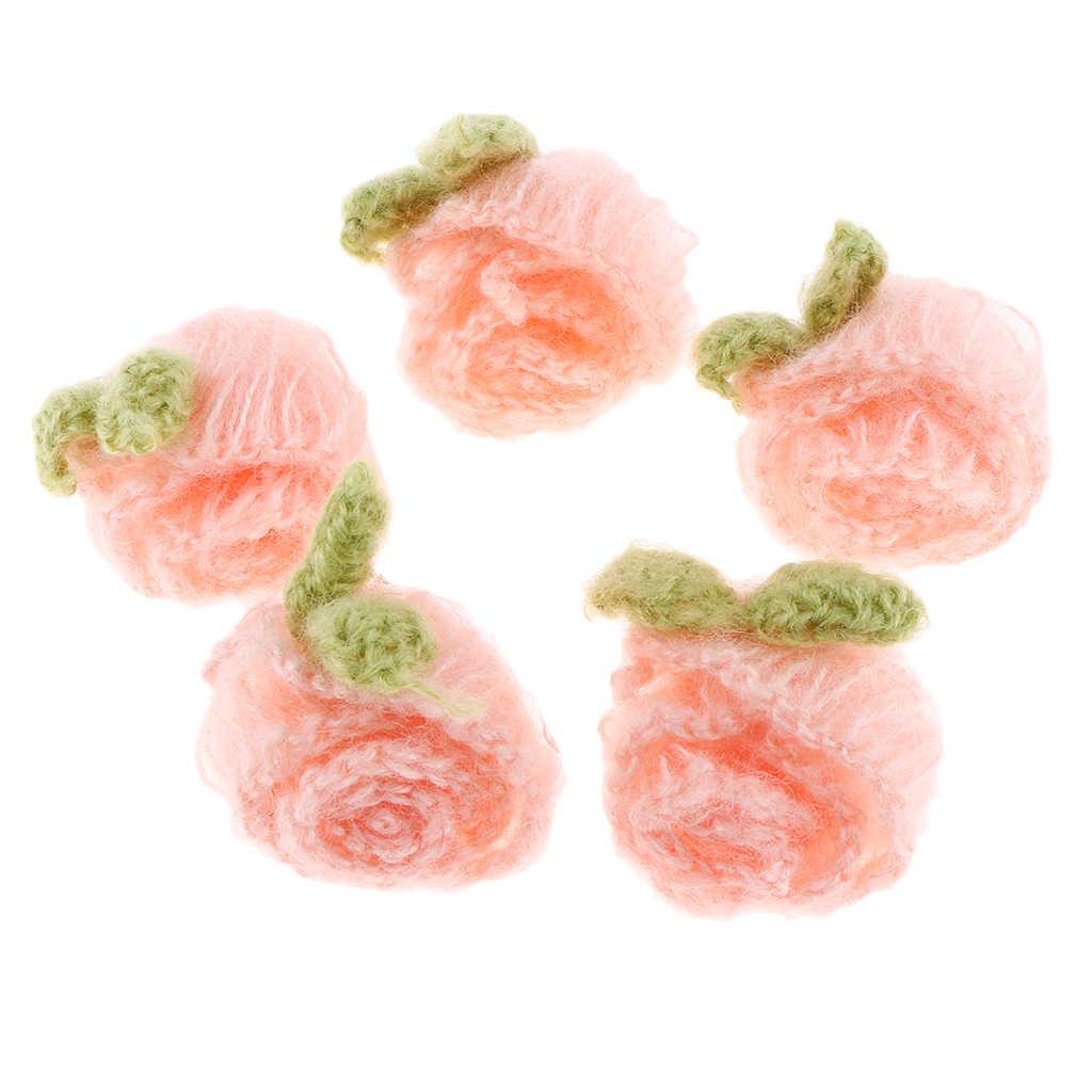 5 Pcs Handmade Häkeln Blume Rose Appliques Stirnband Hut Taschen Kleidung Haarnadel Headwear DIY handgemachte Handwerk Zubehör