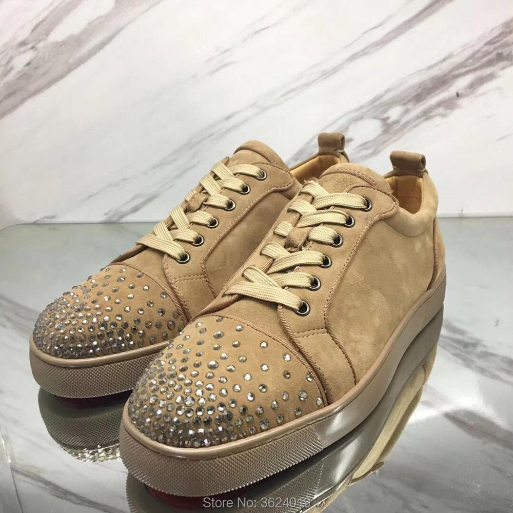 Kakifarbiges Rote Spitze Dunkles Für Strass Up Mann Leder Schuhe Diamant Andgz Outdoor Turnschuhe Cut Loafers Cl Untere Low Tan Flache Licht xFRvx