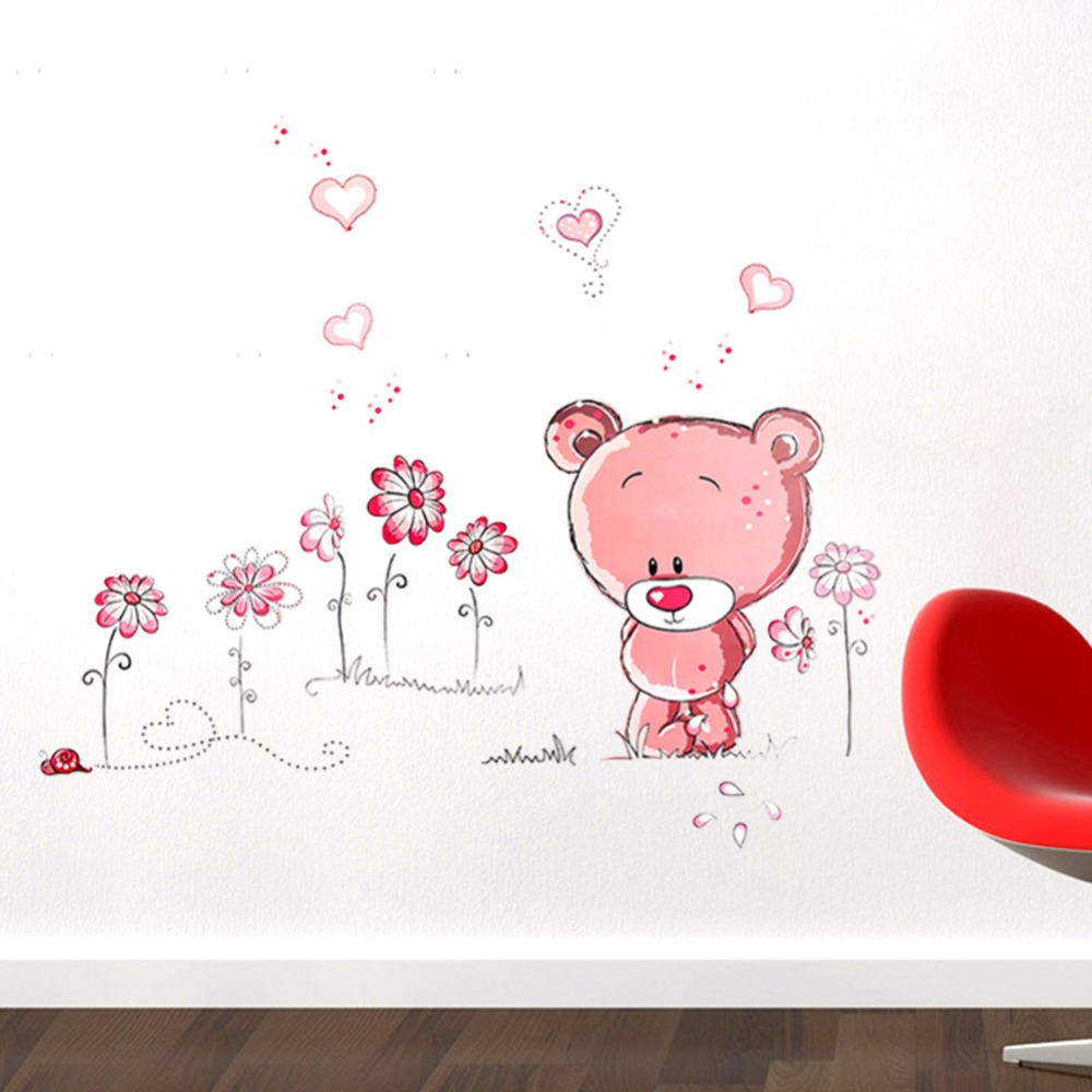 New cute lovely pink bear nursery girl baby kids children art new cute lovely pink bear nursery girl baby kids children art decal wall sticker bedroom wall stickers home decor amipublicfo Image collections