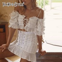 TWOTWINSTYLE Skirt Suits Female Lace Up Strapless Hollow Out Off Shoulder Puff Sleeve Sexy Top High