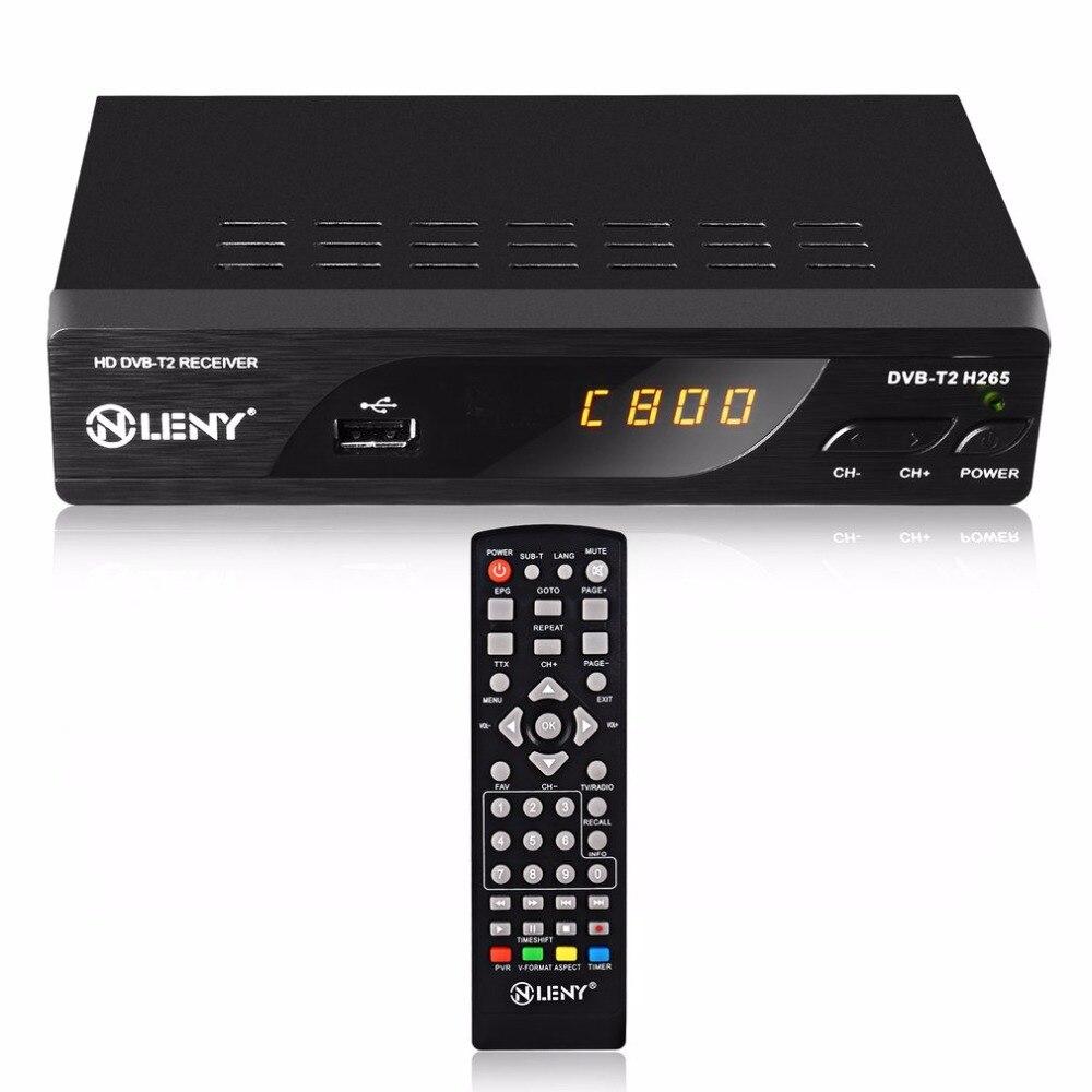 DVB-T2 H.265 Full HD 1080P High Definition Digital Terrestrial Receiver USB2.0 Port with PVR Function and External HDD Black EU